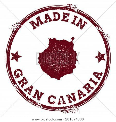 Gran Canaria Seal. Vintage Island Map Sticker. Grunge Rubber Stamp With Made In Text And Map Outline