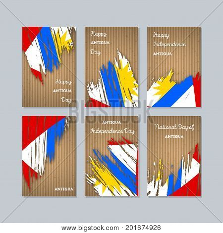 Antigua Patriotic Cards For National Day. Expressive Brush Stroke In National Flag Colors On Kraft P