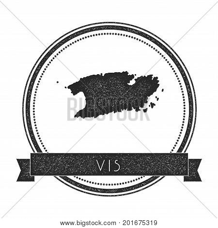 Vis Map Stamp. Retro Distressed Insignia. Hipster Round Badge With Text Banner. Island Vector Illust