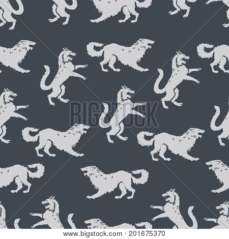Seamless pattern with predators. Design for printing on fabric or paper. Vector image.