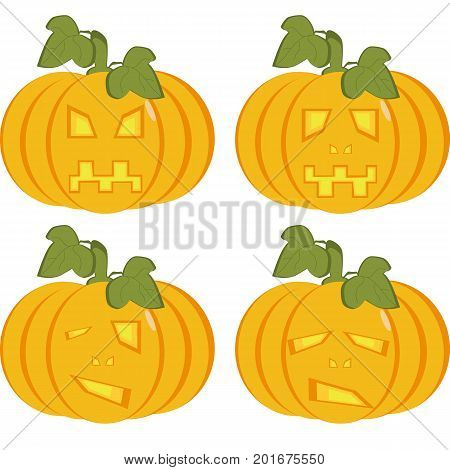 A set of isolated icons of yellow pumpkins with carved faces. Objects can be used as Jack-o-lantern for decorating postcards and illustrations for the celebration of Halloween