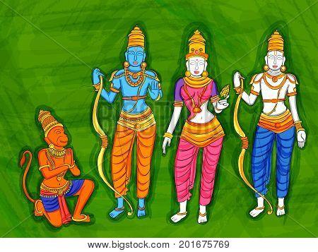 Vector design of Abstract Statue painting of Indian God Rama, Laxmana, Sita and Hanuman  sculpture