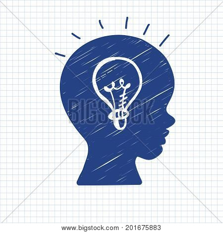 Education doodle styled lamp symbol in boys head on paper sheet. Vector illustration. Kids face profile contour with sketch lamp. Pen drawn contour of schoolboy profile. Idea concept