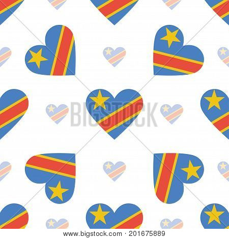 Congo, The Democratic Republic Of The Flag Patriotic Seamless Pattern. National Flag In The Shape Of