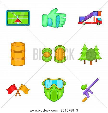 Paintball icons set. Cartoon set of 9 paintball vector icons for web isolated on white background