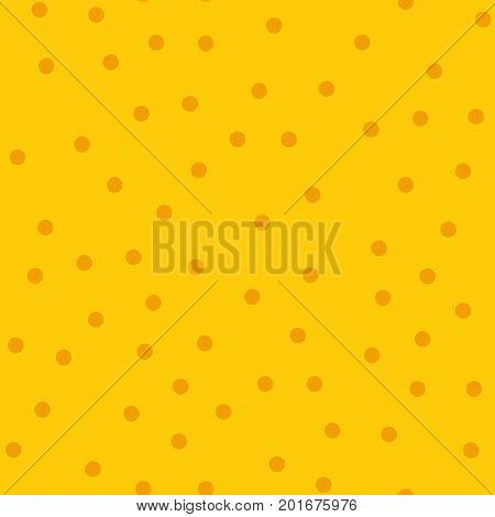 Orange Polka Dots Seamless Pattern On Yellow Background. Majestic Classic Orange Polka Dots Textile