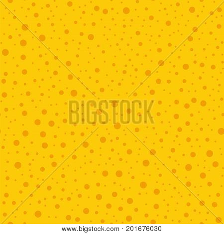 Orange Polka Dots Seamless Pattern On Yellow Background. Overwhelming Classic Orange Polka Dots Text