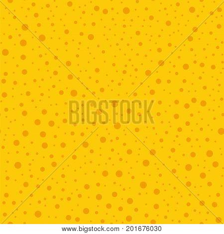 Orange Polka Dots Seamless Pattern On Yellow Background. Overwhelming Classic Orange Polka Dots Text