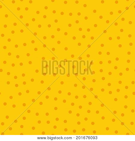 Orange Polka Dots Seamless Pattern On Yellow Background. Impressive Classic Orange Polka Dots Textil