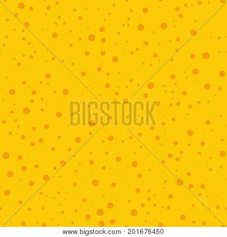 Orange Polka Dots Seamless Pattern On Yellow Background. Wondrous Classic Orange Polka Dots Textile