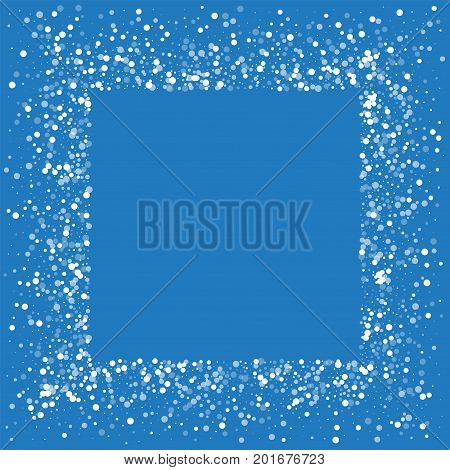 Random Falling White Dots. Square Messy Frame With Random Falling White Dots On Blue Background. Vec