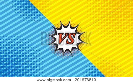 Comic duel background with two opposite sides slanted lines and halftone effects in blue and yellow colors. Vector illustration