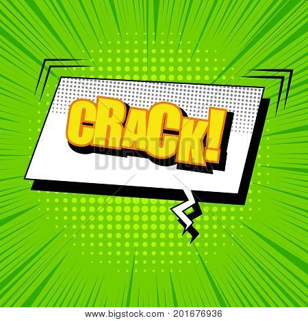 Bright comic page template with yellow Crack inscription, white rectangular speech bubble, rays, sound and halftone effects on green background. Vector illustration