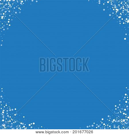 Random Falling White Dots. Corners With Random Falling White Dots On Blue Background. Vector Illustr