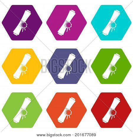Old rolled paper with a red wax seal icon set many color hexahedron isolated on white vector illustration