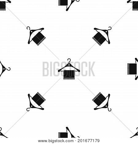 Scarf on coat hanger pattern repeat seamless in black color for any design. Vector geometric illustration