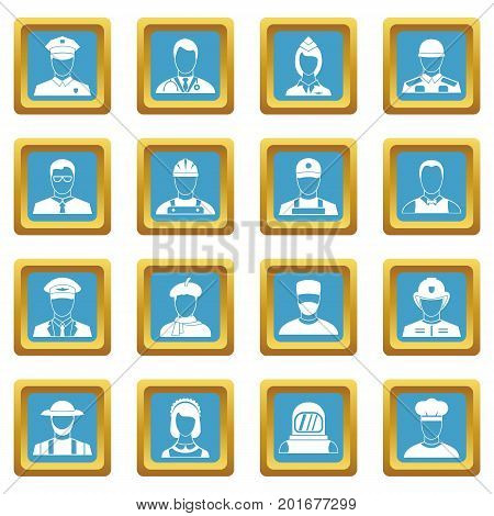 Professions icons set in azur color isolated vector illustration for web and any design