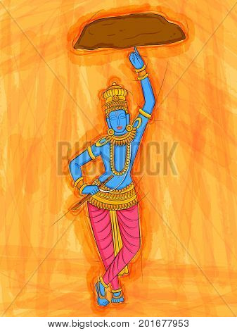 Vector design of Abstract Statue painting of Indian God Krishna sculpture