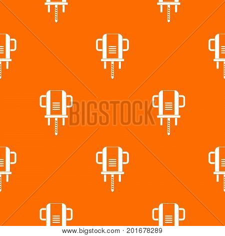 Boer drill pattern repeat seamless in orange color for any design. Vector geometric illustration