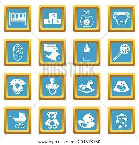Newborn icons set in azur color isolated vector illustration for web and any design