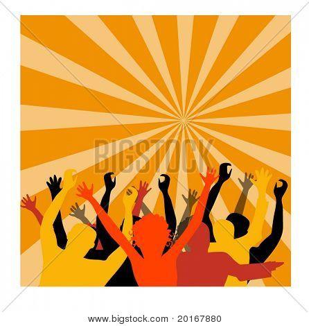 crowd cheering illustration
