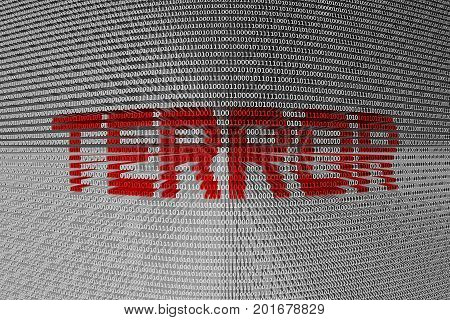 terrorism in the form of binary code, 3D illustration