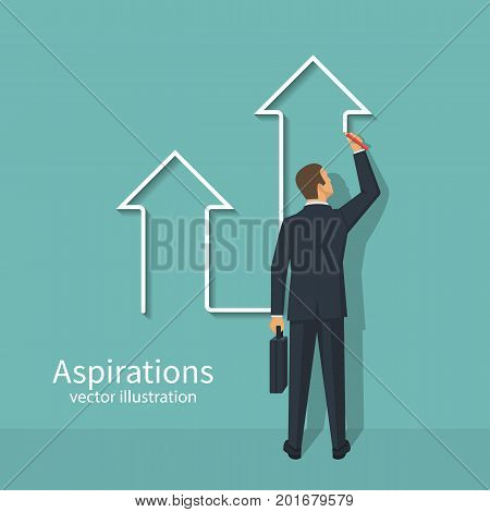 Business aspirations. Success achievement concept. Businessman draws an arrow up. Vector illustration flat design. Isolated on background. Motivation to achieve goal. Way Up.