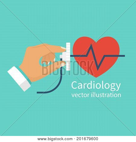 Cardiology concept. Cardiologist doctor stethoscope hold in hand. Red heartbeat with life line, symbol healthcare. Medical background. Vector illustration flat design.