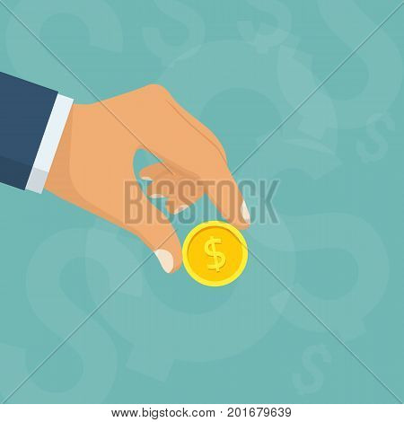 Coin in hand. Holding money in hand human. Pay cash. Gold dollar coin. Isolated on white background. Vector illustration flat style design. Template for financial projects. Donat icon. Give money.