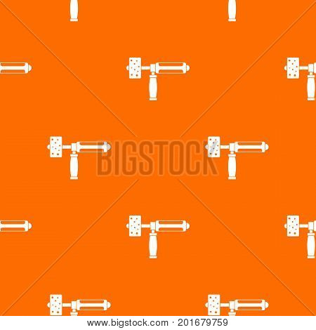 Precision grinding machine pattern repeat seamless in orange color for any design. Vector geometric illustration