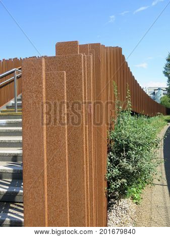 Futuristic railing pillars on Reading Caversham footbridge over River Thames