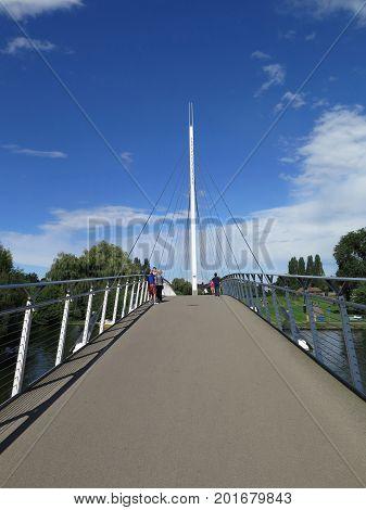 People On Modern Foot Bridge