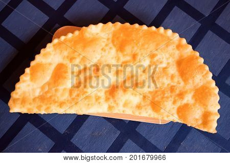 Close up Chebureki traditional dish of many turkic and mongolian people