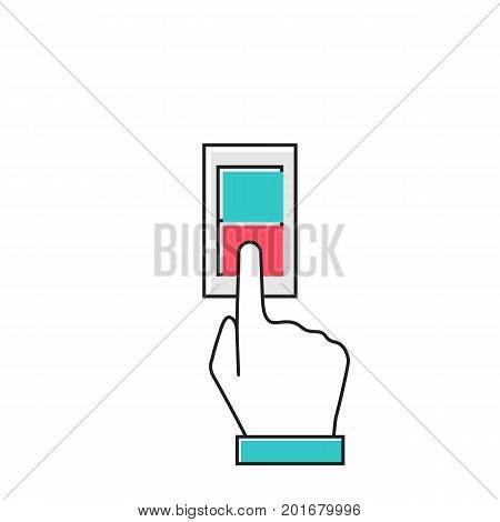 Man hand push button switch. Vector illustration flat minimal line design style. Electric control switch by pressing hand.  Red and green button with indicator lamps.