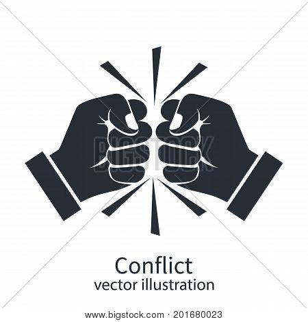 Conflict concept black silhouette. Two fists clenched in a dispute. Disagreements of businessmen. Business conflict pictogram, debate. Vector design. Isolated on white background.
