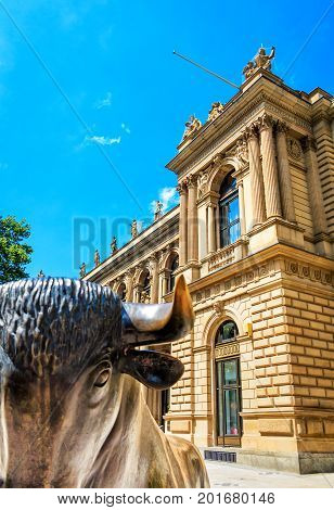 FRANKFURT, GERMANY-JULY 17, 2017: Frankfurt Stock Exchange Financial Metropolis in Germany