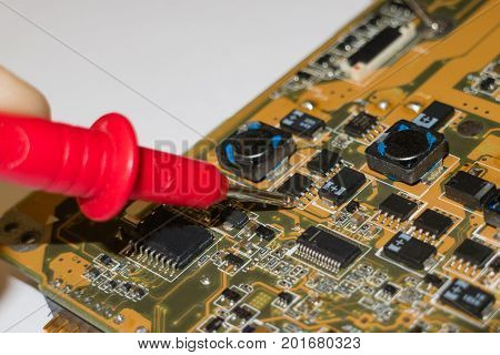 Measurement of voltage current ampers and resistance of the electronic circuit board poster