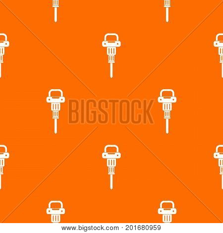 Pneumatic hammer pattern repeat seamless in orange color for any design. Vector geometric illustration