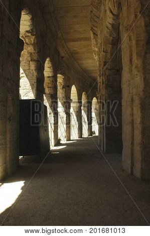 View of the arches of the Arles Coliseum
