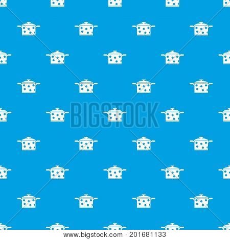 Saucepan with white dots pattern repeat seamless in blue color for any design. Vector geometric illustration