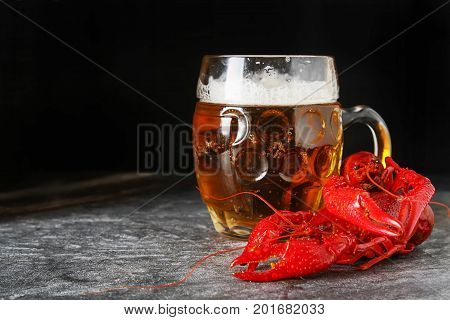 Delicious Boiled Crayfish Close-up With Beer. Dark Background. D