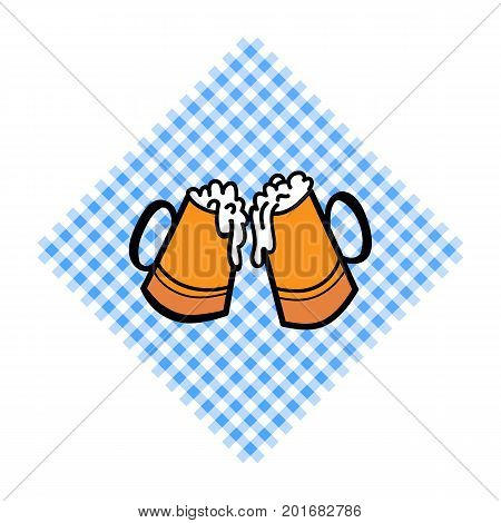 Bayern pattern background. Traditional German Oktoberfest bier festival with two Beer cups. Vector lettering illustration.
