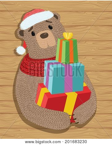 Bear with gifts. Illustration of a cartoon christmas bear with gifts. A bear in a hat and scarf. Drawing for children.