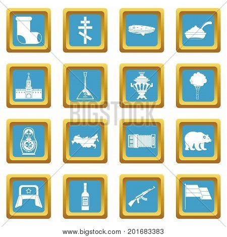 Russia icons set in azur color isolated vector illustration for web and any design