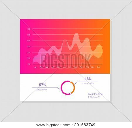 Infographic dashboard template with flat design graphs and charts eps jpg
