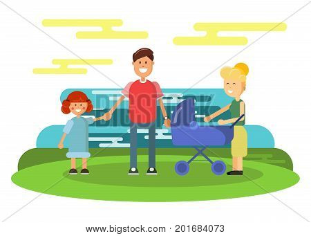 Modern family with baby carriage vector flat design illustration on green background. Relatives standing together. Cute man and woman with little girl and baby
