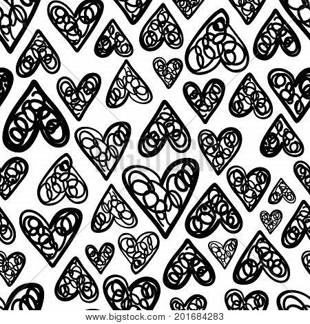 Hand drawn seamless pattern isolated on white. Endless vector primitive background with black hearts. Stylish monochrome doodles. Vector illustration.