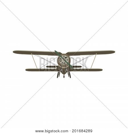 Biplane vintage airplane vector plane old retro propeller illustration isolated aircraft