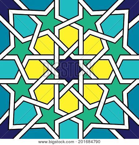 Moroccan tile design, Moorish seamless vector pattern, Geometric abstract tiles