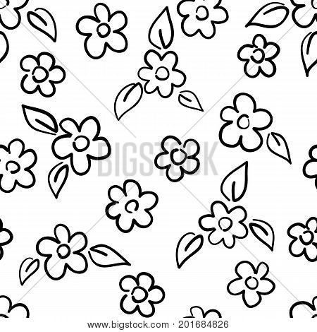 Hand drawn seamless pattern with flowers isolated on white. Endless vector primitive background. Stylish monochrome doodles. Vector illustration.